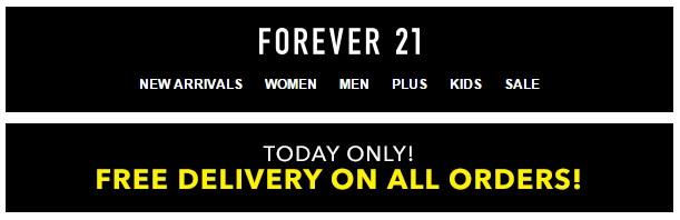 Forever 21: gastos de envío gratis on line (SÓLO HOY!) + códigos descuento!