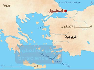 ادون الاسم الحالي للقسطنطينية على الخارطة ، احدد موقع القسطنطينية