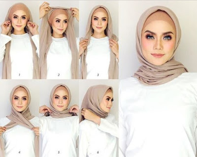 tutorial model hijab pashmina pesta modern terbaru