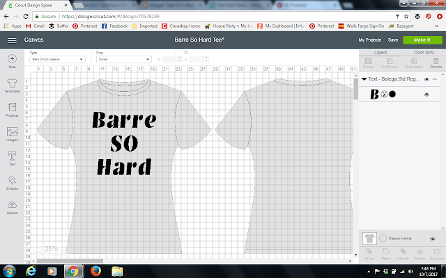 DIY your own barre themed shirt with $5 tank tops from Target and Iron on Vinyl from Cricut.