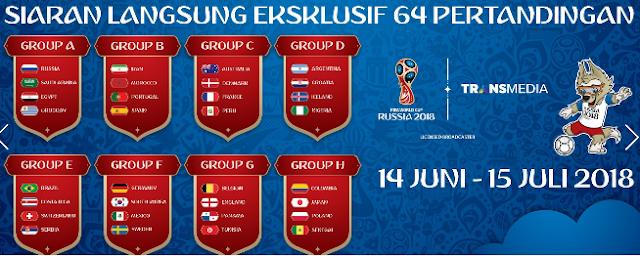 Jadwal Siaran Langsung Piala Dunia 2018