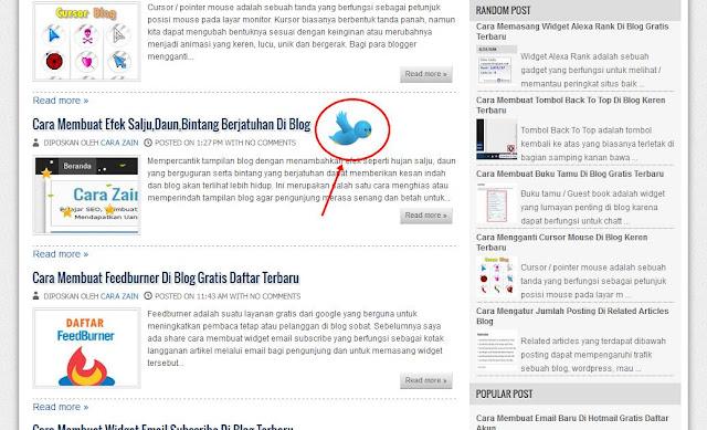 Cara Membuat Burung Twitter Terbang Di Blog Terbaru