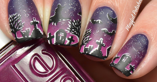 HALLOWEEN NAIL ART-WITCHES AND GRAVEYARDS AND HEADLESS HORSEMAN