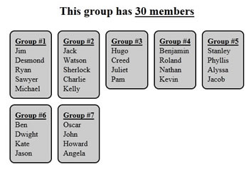 Random Team Generator Split a list into random groups - induced info