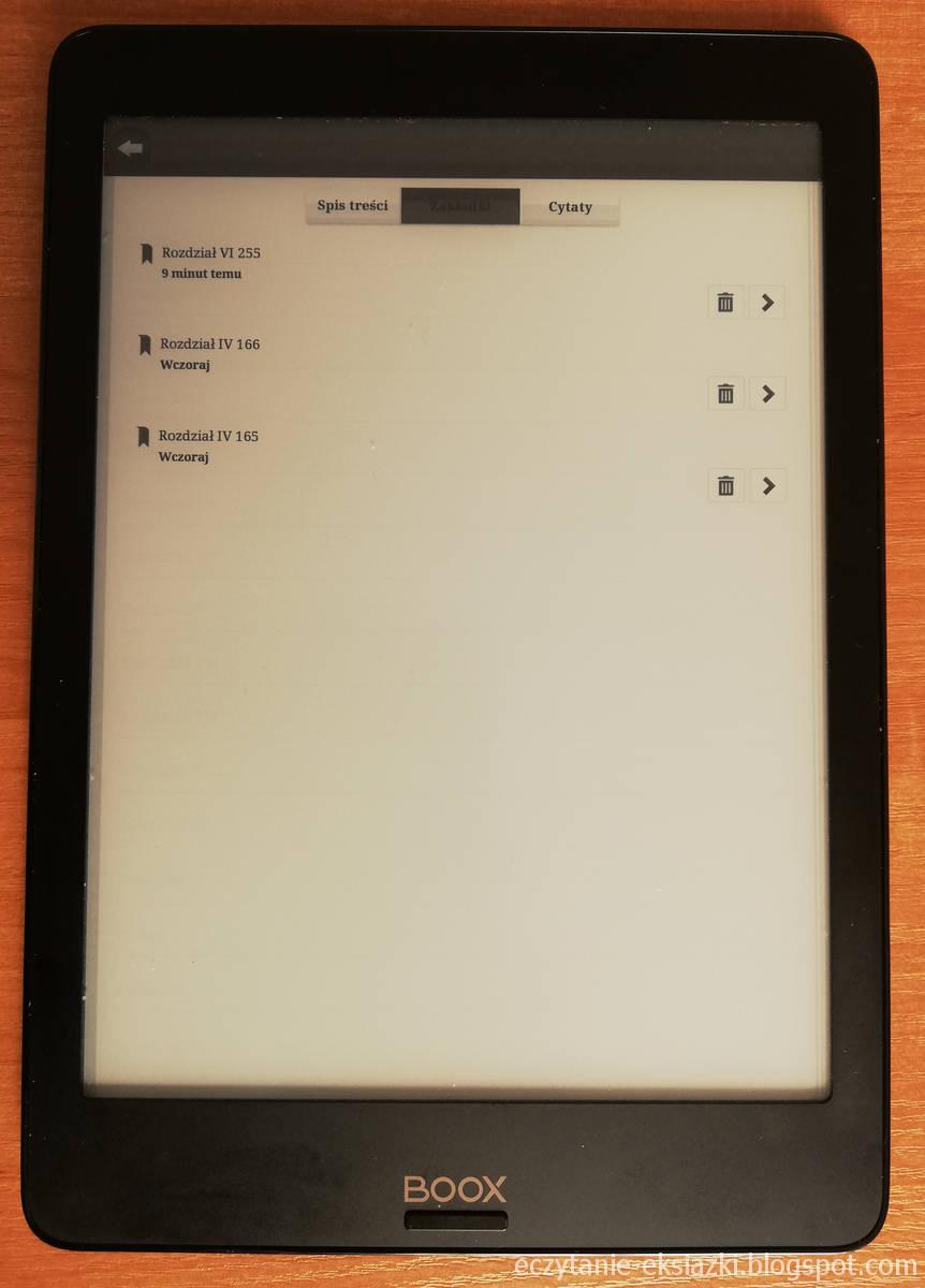 Lista dodanych zakładek w e-booku w aplikacji Legimi na czytniku Onyx Boox Nova