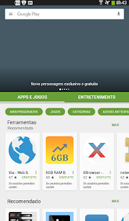 Opção de categorias no Play Store