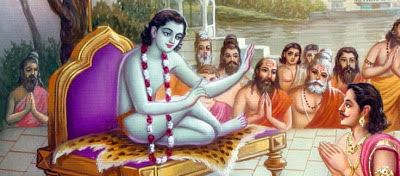 Gurus passing down the sacred knowledge by oral transmission to seekers