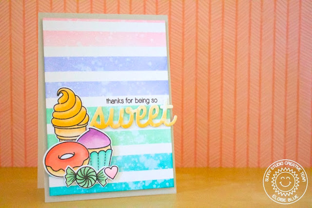 Sunny Studio Stamps: Sweet Shoppe Thank You Card by Eloise Blue.