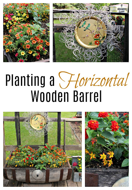 Planting a Horizontal Wooden Barrel #calibrachoa #bidens #lantana #bedsprings #wreath #vintage