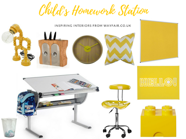 Children's homework station moodbaord by Mrs B for Wayfair