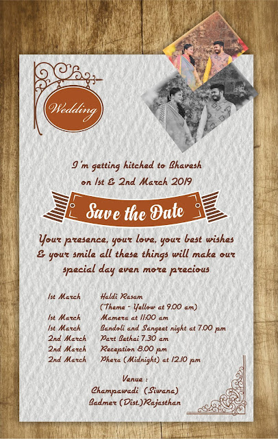 Wedding card-Save the date card