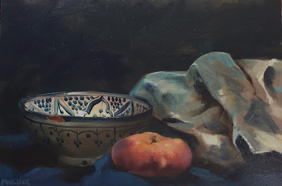 """Wild peach with a painting rag"", oil on panel 20x30 cm, painted alla prima from life by Philine van der Vegte"