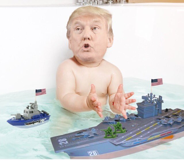 Trump and boats in a tub
