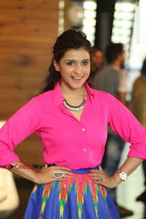 Actress Mannar Chopra in Pink Top and Blue Skirt at Rogue movie Interview  0123.JPG