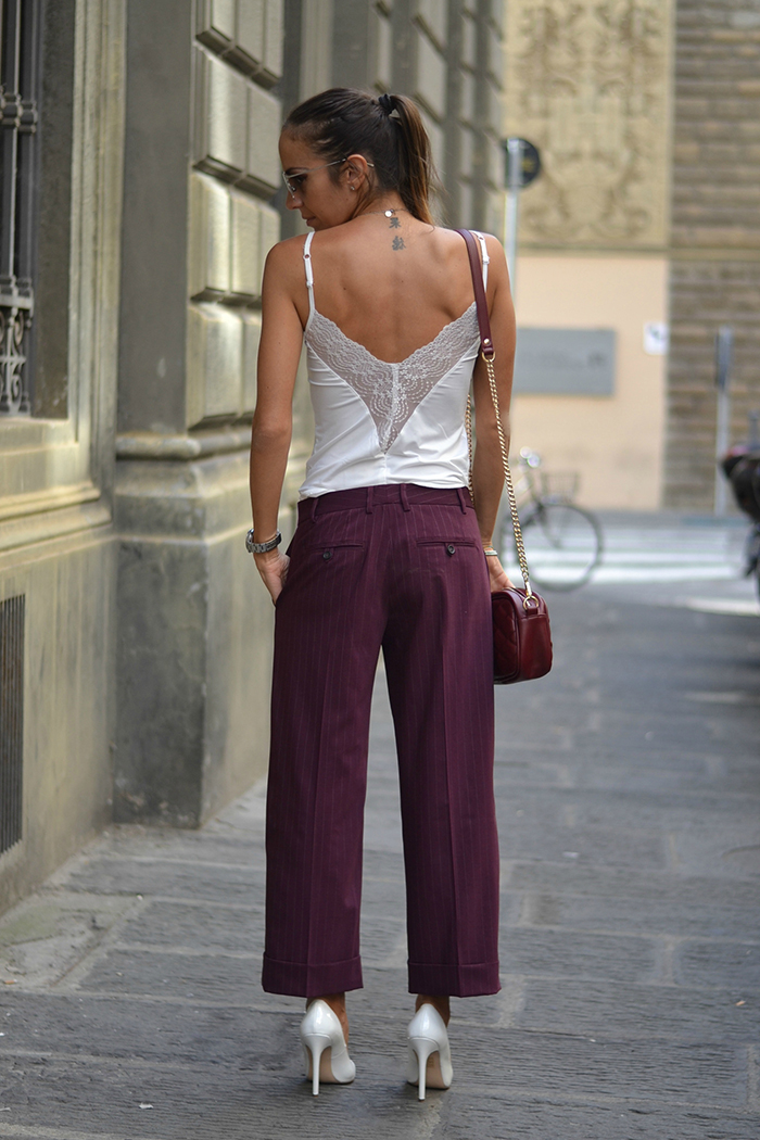 pantalone gessato burgundy