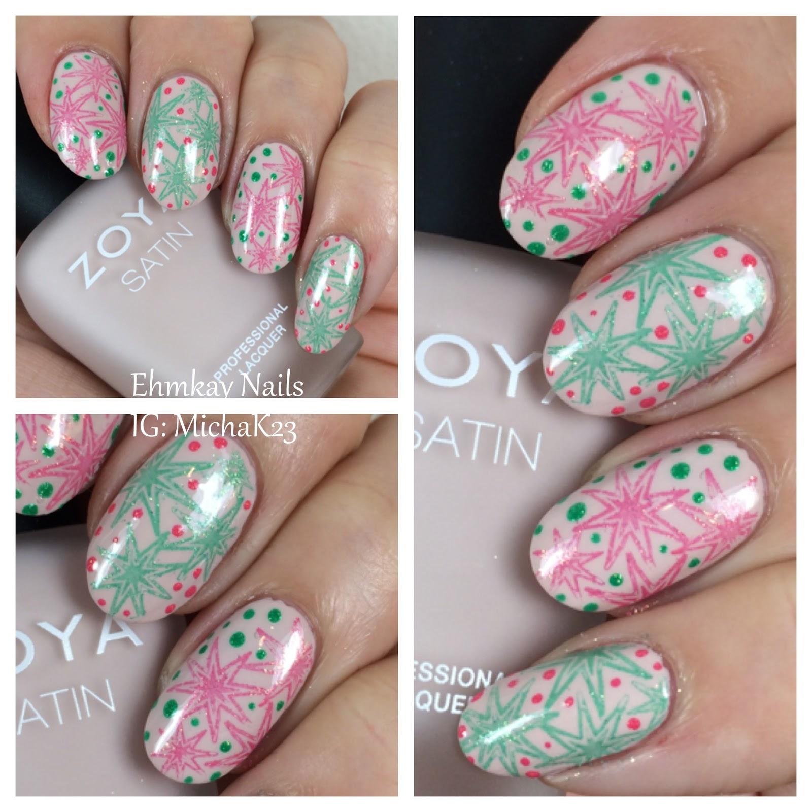 ehmkay nails: 35th Anniversary Nails with Coral and Jade Nail Art