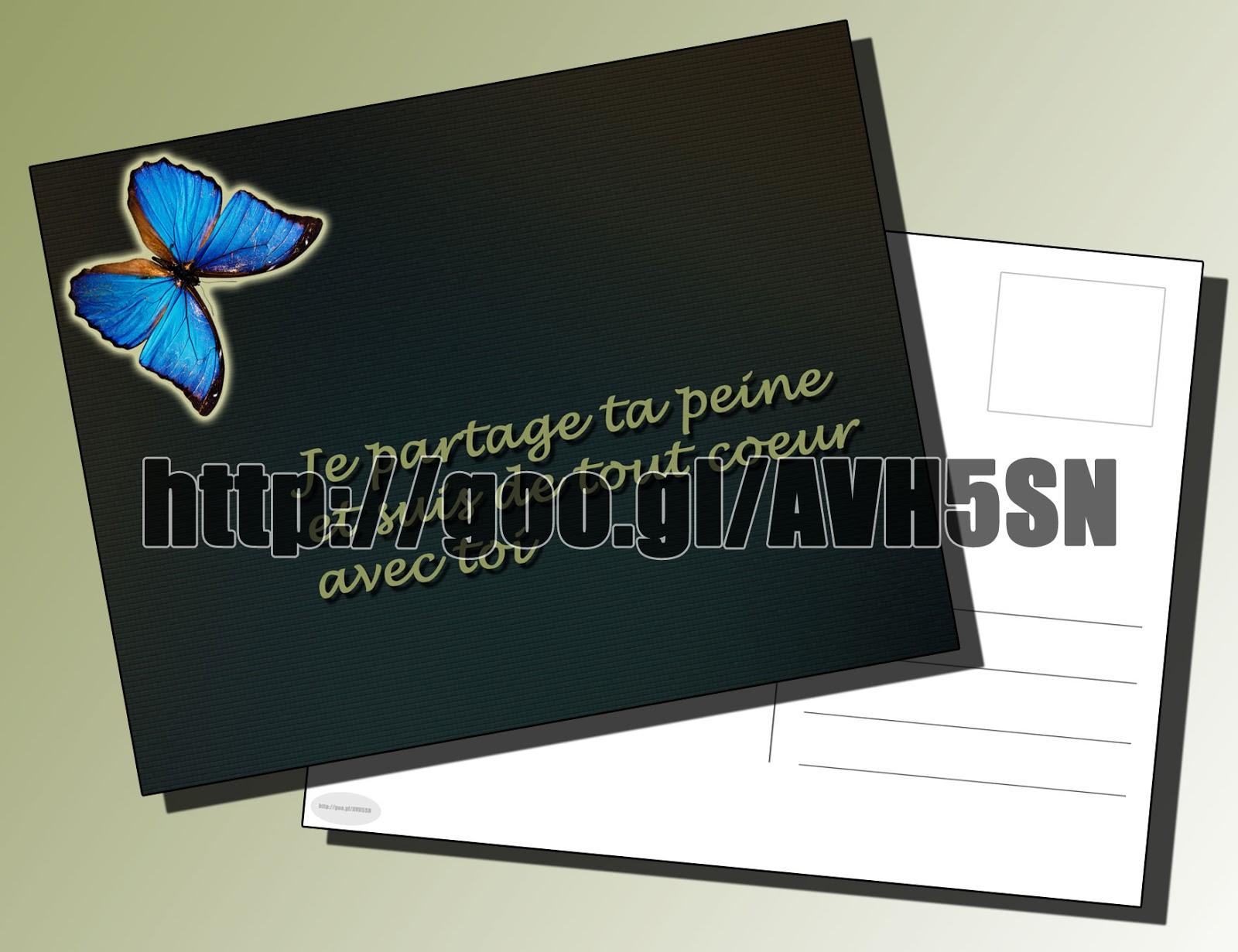 Carte De Condoléances Pour Un Ami Gratuit Modele Avec Papillon Décoration | CarteGratuit Spot
