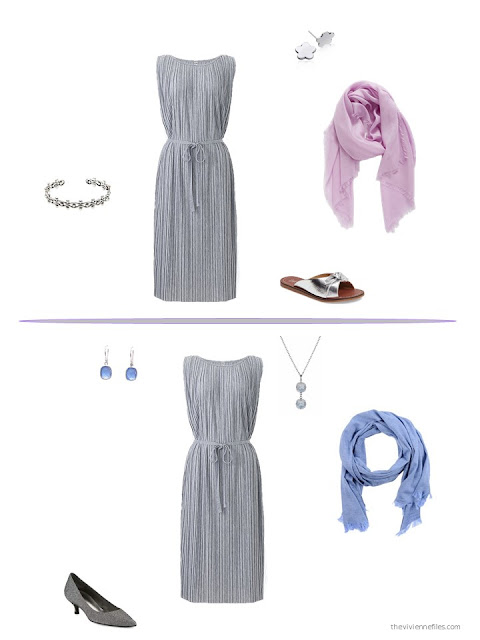 two ways to style a grey dress for warm weather