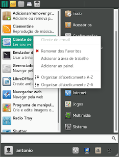 Adicionado programas favoritos no Menu Whisker