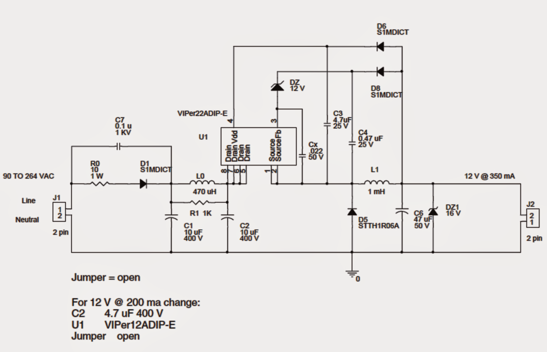 1 watt led driver circuit diagram