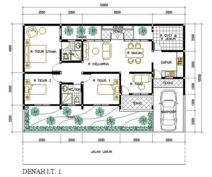 denah rumah 3 kamar 10x15 m inspiratif