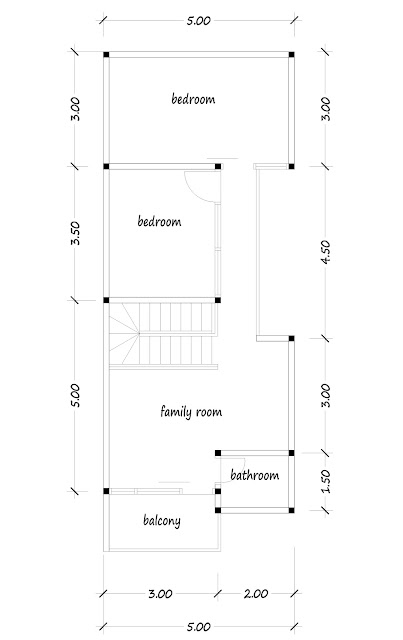 2nd floor plan of narrow house 09