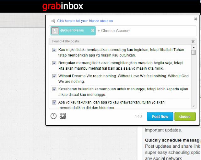 autotweet menggunakan Grabinbox