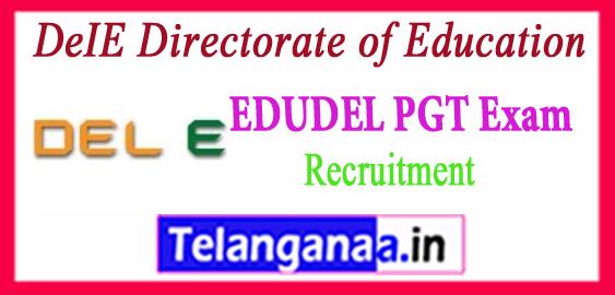 EDUDEL DeIE Directorate of Education PGT  Teacher Recruitment 2017