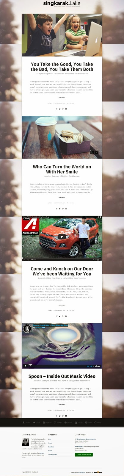 Responsive one column Blog Theme