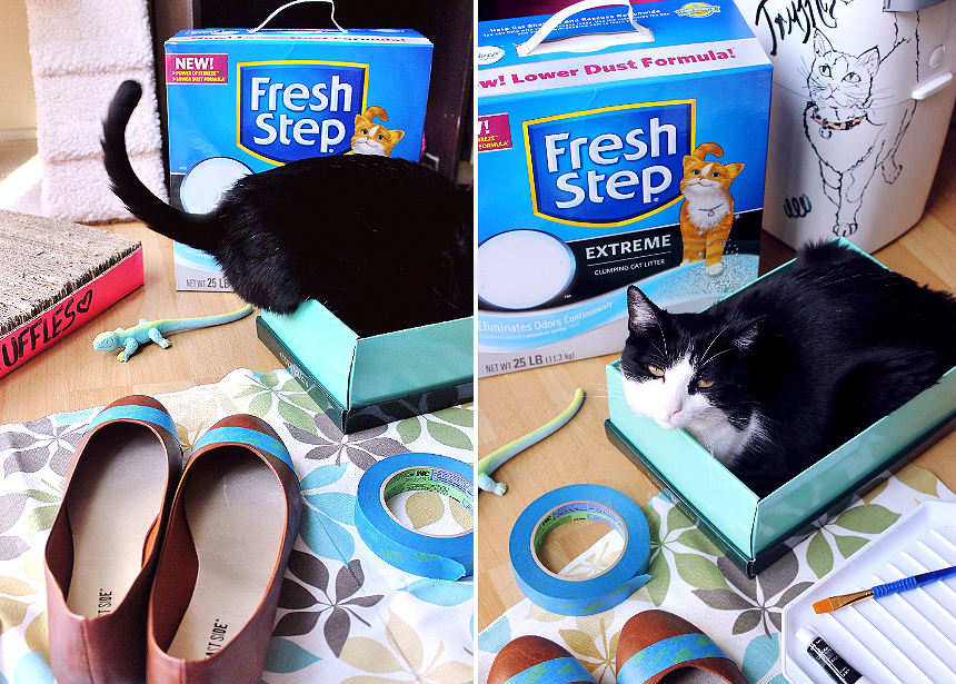 Preparing to make DIY kitty-toe flats.