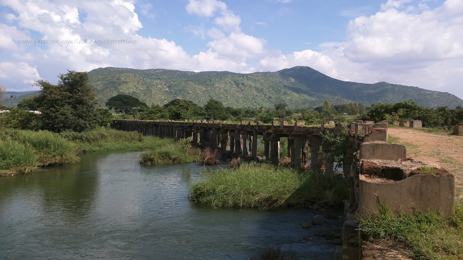 Stone bridge over Kaveri river where hindi film guru is shooted
