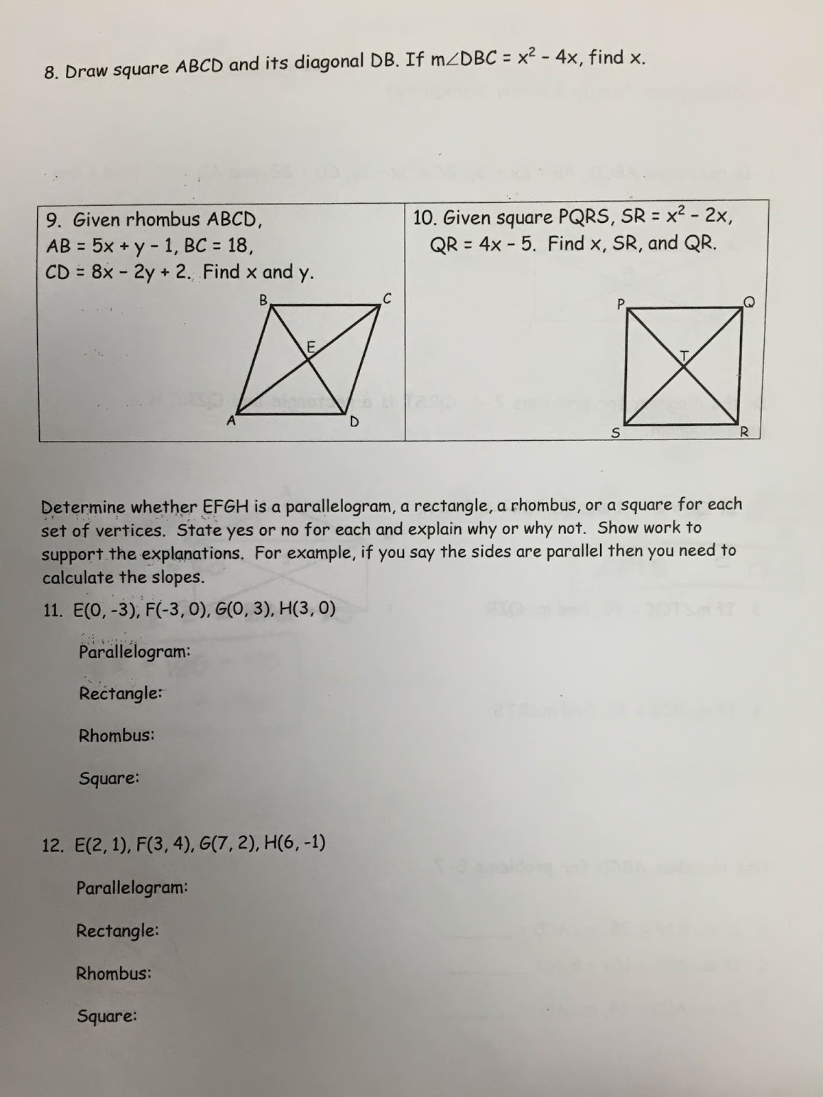 Geometry Review Worksheets For High School - geometry ...
