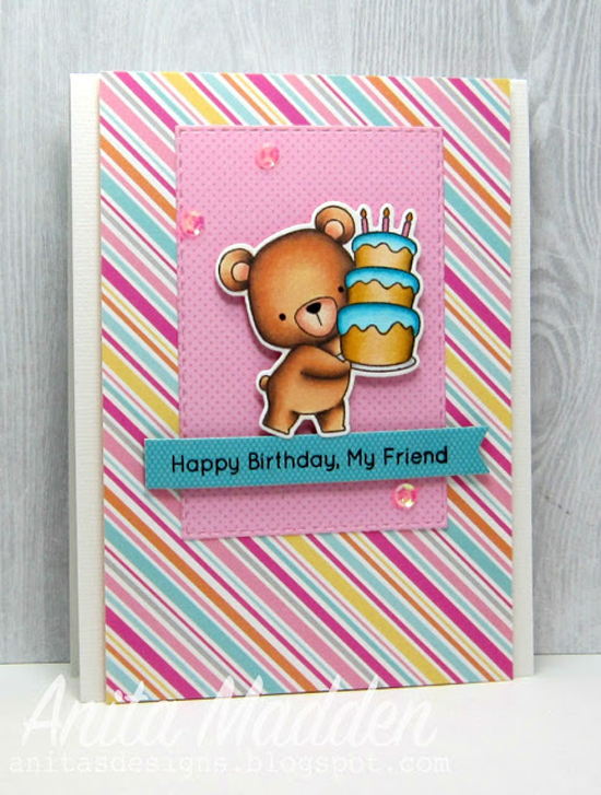 Birdie Brown Beary Special Birthday stamp set and Die-namics, and Fishtail Flags Layers STAX Die-namics - Anita Madden #mftstamps