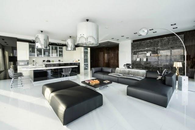 sala de estar en negro y blanco
