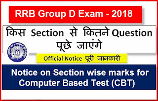 RRB Group D Exam Section Wise Marks Notice