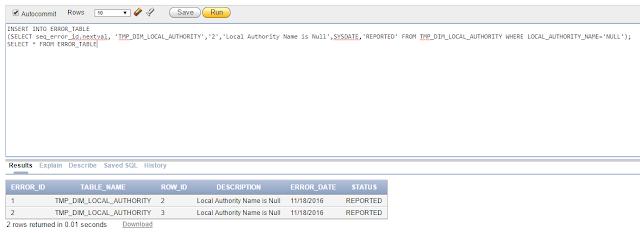 Inserting the error found into the error table