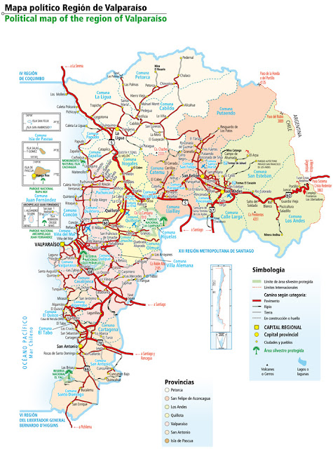 Mapa do Chile – Região 5 - Valparaiso