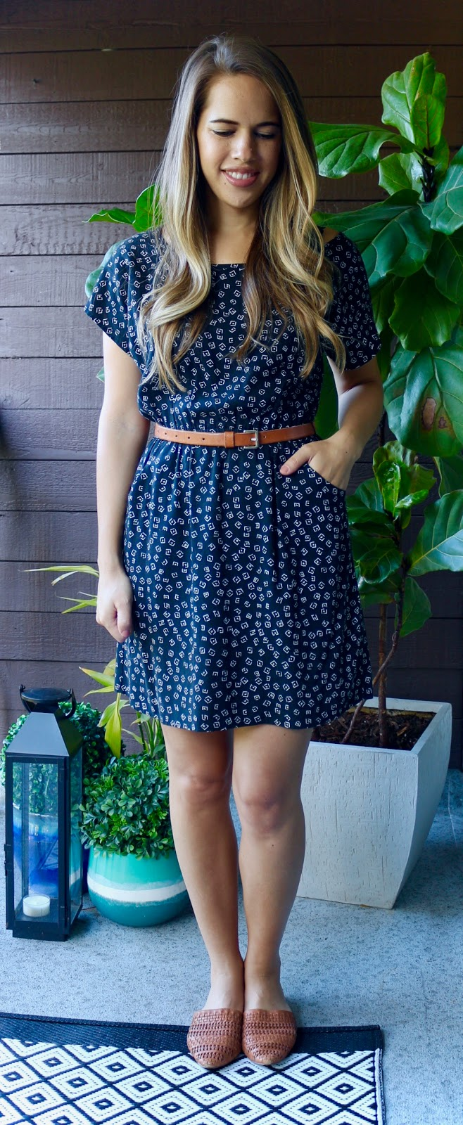 Jules in Flats - Black and White Dot Dress with Neutral Accents