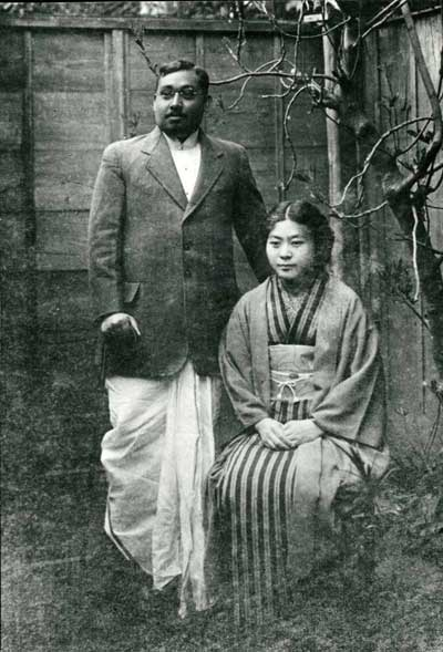 Indian revolutionary leader Rash Behari Bose with his Japanese Wife Toshiko