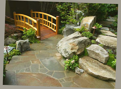 Japanese Design Concrete Patio Ideas For Backyard With Bridges and Rocks Photo 003