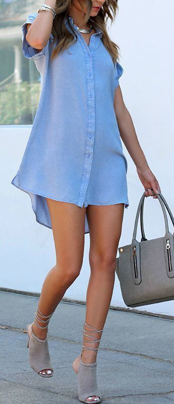 what to wear with a blue shirt dress : nude bag + lace up heels