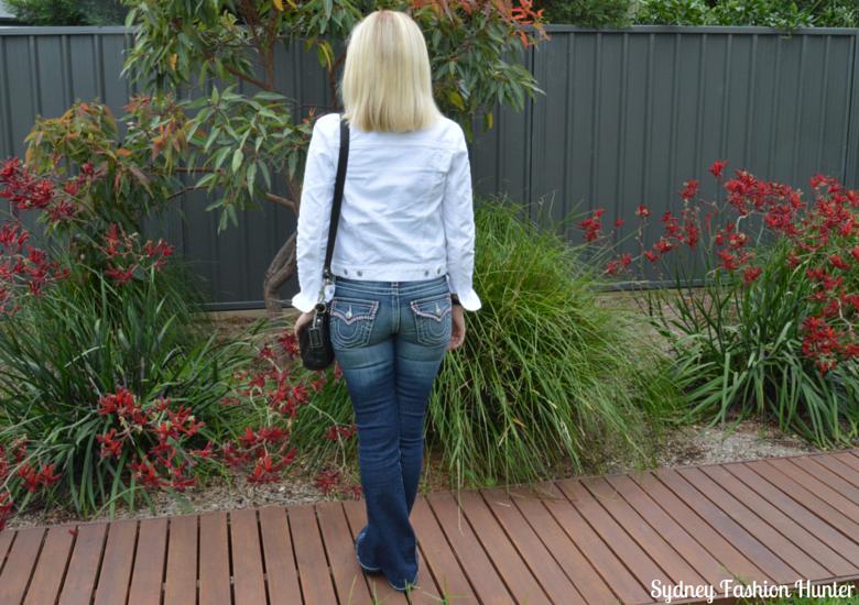 Gap White Denim Jacket, True Religion Jeans, Shoes of Prey Black Glitter Ballet Flats