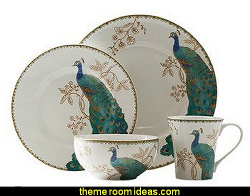 Peacock Garden 16 Piece Dinnerware Set peacock color Christmas decorating - peacock color decorations - peacock themed Christmas - Peacock Tree Theme - peacock christmas tree decorations - Peacock Decorations - Peacock Tree Theme decorating Christmas Peacock - christmas feathered Peacock Christmas Ornaments- Peacock themed Christmas