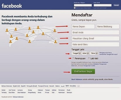 Cara daftar facebook bahasa indonesia