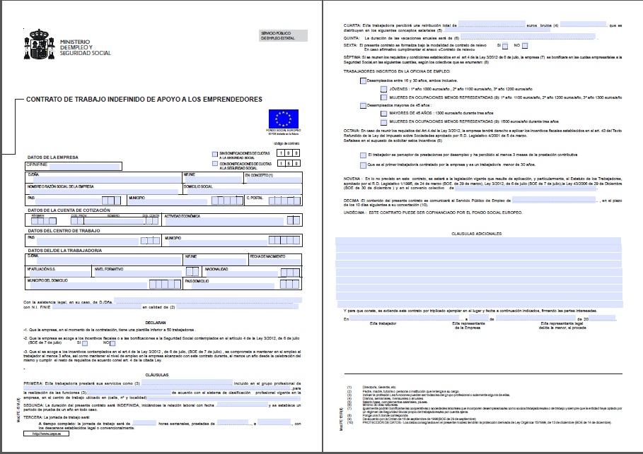 Econ micamente contratos de trabajo for Formato de contrato de trabajo indefinido