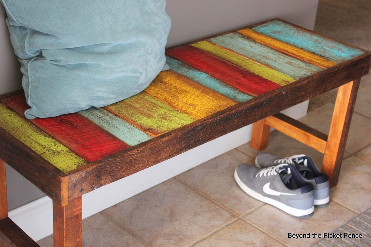 http://bec4-beyondthepicketfence.blogspot.com/2014/04/colorful-rustic-bench.html