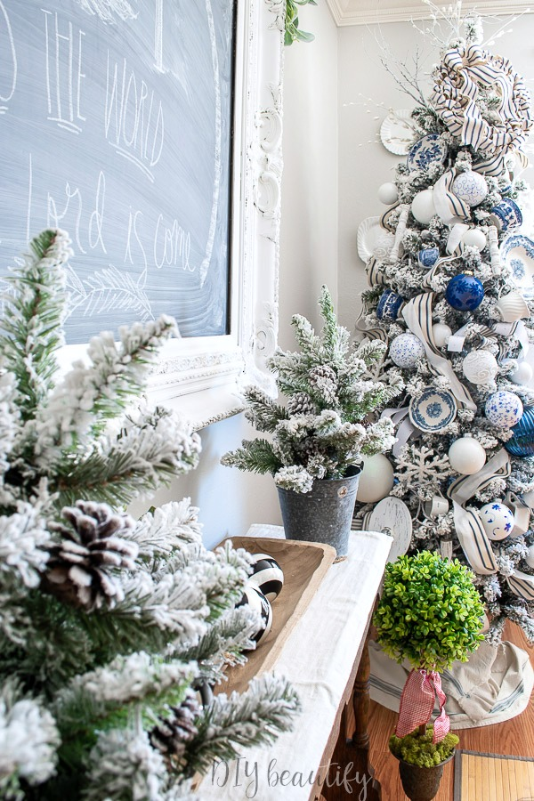 flocked trees and Christmas chalkboard