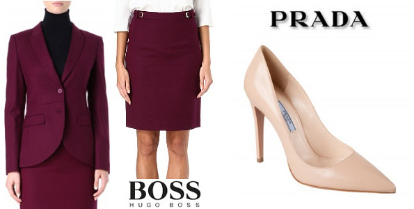 Queen Letizia's HUGO BOSS Jamayla and Valessima Suit And PRADA Pointy Toe Pump