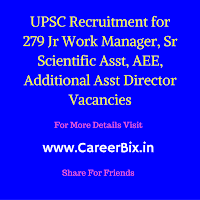 UPSC Recruitment for 279 Jr Work Manager, AEE and SSA Vacancies