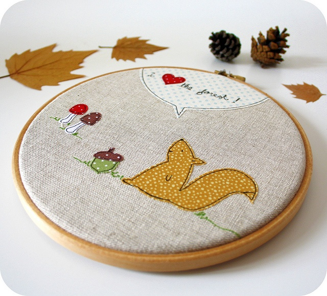 this fall forest embroidery hoop art is perfect autumn decor